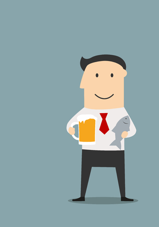 drunk party: Cheerful smiling businessman relaxing after hard day with mug of beer and dried salted fish. Cartoon flat style