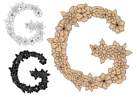 colorless: Floral alphabet capital letter G with blooming roses, daisies and field flowers. For monogram design in colorless, black and brown color variations