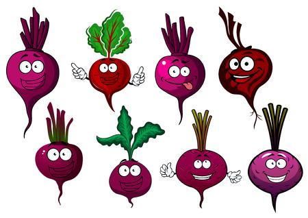 Cartoon beet vegetables characters with purple taproots, green haulms and happy faces. For vegetarian food or agriculture theme