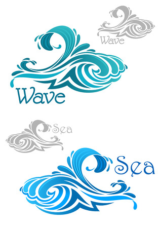 waves ocean: Curling sea and ocean waves icons with teal and blue water swirls, text Wave and Sea. For nature or ecology theme, or power concept design
