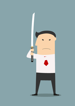 katana: Resolute and unswerving businessman holding katana sword, ready to fight, for business challenge design. Cartoon flat style Illustration