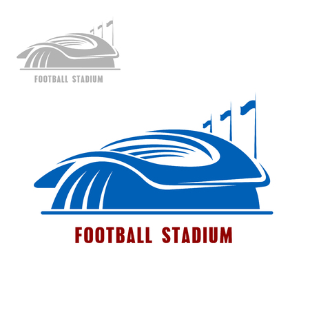 arena: Soccer stadium building icon of sporting arena with row of flags, for sport theme design