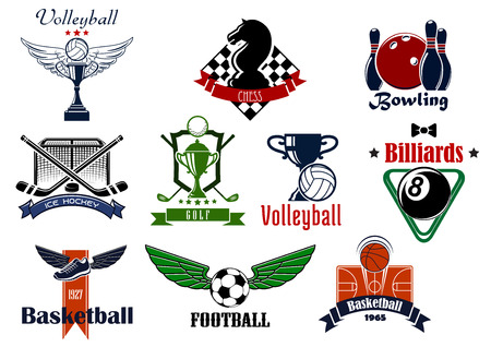 Sports club or team emblems and icons for football, soccer, basketball, ice hockey, bowling, billiards, golf, chess and volleyball game with items
