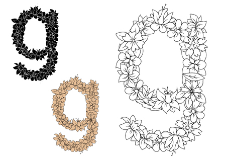 lowercase: Colorless floral alphabet lowercase letter g, decorated by flowers and herbs, for romantic font design