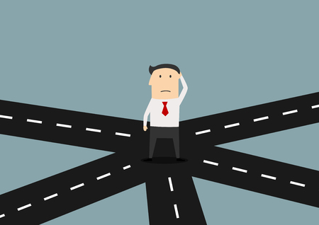 Cartoon confused businessman on crossroad choosing future direction to success or business strategy, for alternative choice concept design