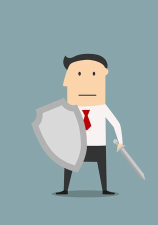 protection symbol: Strong businessman with medieval sword and shield, protects business from risks or business confrontation. Cartoon style