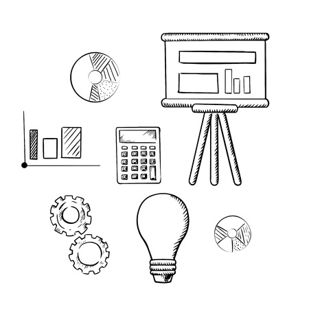 pie: Flip chart with graphs, pie charts, bar graph, calculator, idea light bulb and gears sketch icons. For business report, presentation and meeting concept design