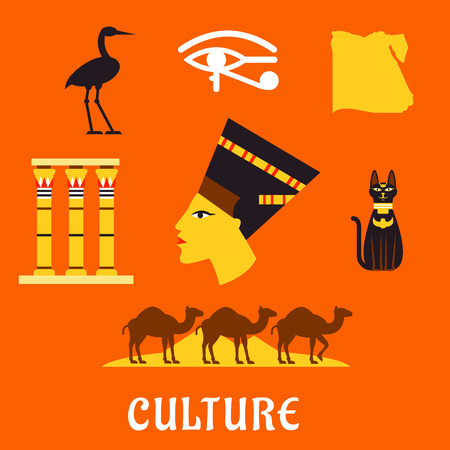 queen nefertiti: Ancient Egypt flat icons with profile of queen Nefertiti, cat goddess, sacred heron Bennu, eye of horus symbol, temple columns, map, caravan of camels and Giza pyramids. For travel and culture theme design