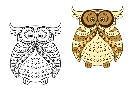owl eyes: Funny cartoon yellow owl with brown striped wings and facial disk, for Halloween party or t-shirt design Illustration