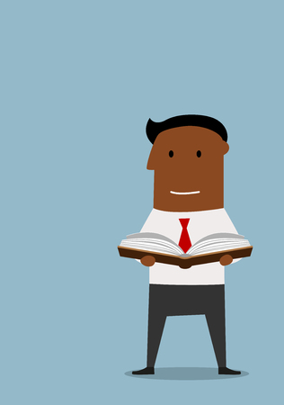 personal growth: Cartoon intelligent african american businessman standing and reading a book, flat style. For education or personal growth theme
