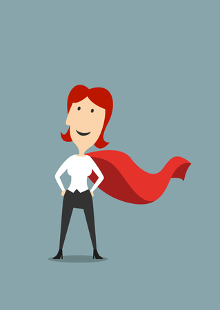 happy woman: Cartoon brave businesswoman standing in hero red cape standing with hands on hips, for success or leadership concept design Illustration