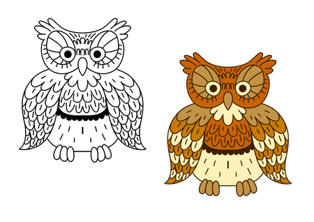 motley: Cartoon owl bird with retro stylized brown motley feathers, second variant in outline colorless style. For Halloween theme design Illustration