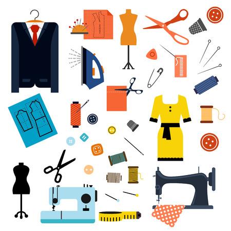 maquinas de coser: Costura y confecci�n iconos planos con m�quinas de coser, agujas, tijeras, alfileres, botones, hilos, hierro, dedales, maniqu�es, cinta m�trica, elegante vestido y traje