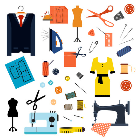 mannequin: Couture et Confection icônes plat avec des machines à coudre, aiguilles, ciseaux, épingles, boutons, fils, fer, dés à coudre, mannequins, ruban à mesurer, élégante robe et costume Illustration