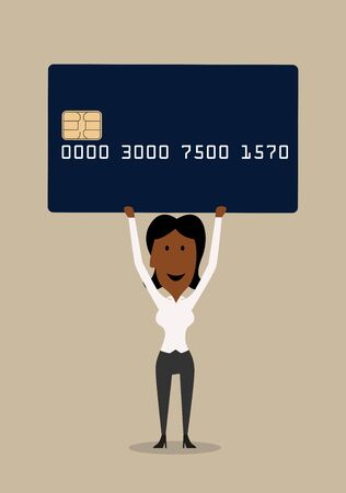 credit card payment: Happy cartoon smiling african american businesswoman presenting a bank credit card, for financial or banking concept design