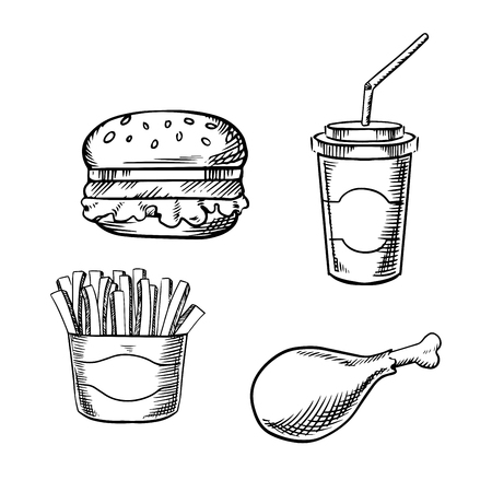 box design: Fast food hamburger with fresh vegetables, paper soda cup with drinking straw, french fries in takeaway box and fried chicken leg. Sketch images