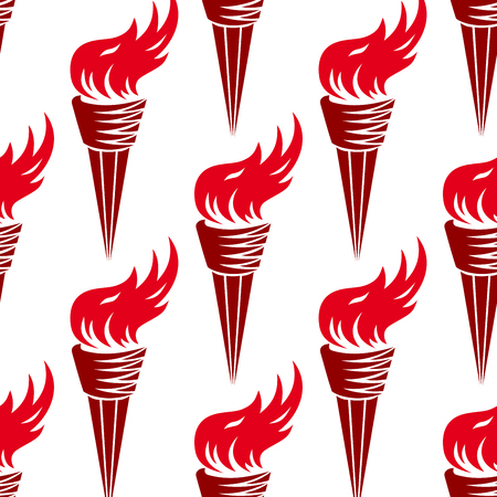flames background: Seamless ancient greek burning torches pattern with bright red fire flames and conical handle on white background for sporting competition or victory themes design