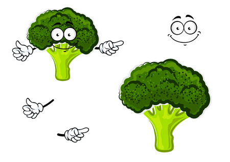 cabbage: Healthful cartoon fresh broccoli vegetable character with dark green curly head and funny face, for agriculture or vegetarian food themes Illustration