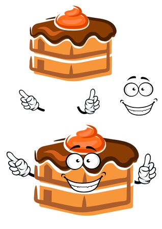 frosting: Smiling chocolate cake cartoon character with ganache frosting and orange cream, for pastry shop or dessert menu design
