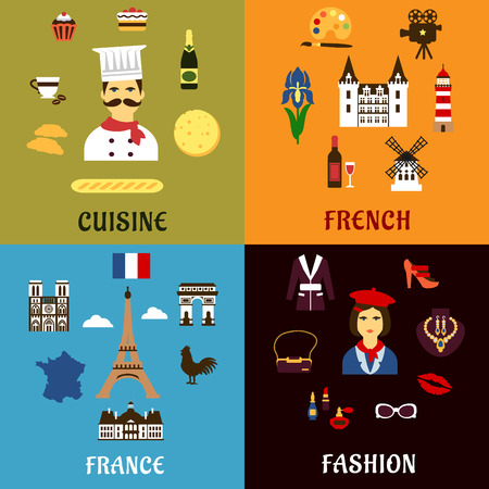 history architecture: France travel, tourism, journey and landscape flat icons with french culture, architecture, history, fashion, cuisine and national symbols