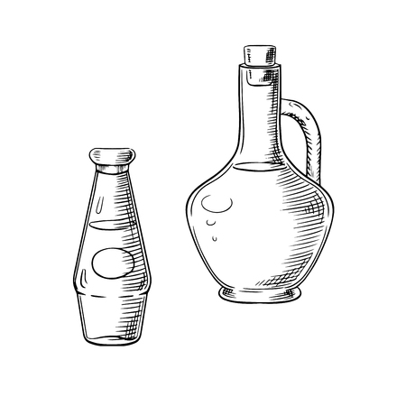 sauce bottle: Olive oil in glass jug and tomato sauce bottle sketch objects, for healthy food or vegetarian nutrition theme Illustration