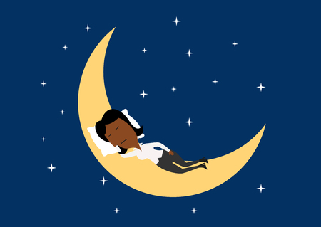 star sky: Weary african american businesswoman sleeping on the moon on the dark night sky with shining stars. Cartoon flat character Illustration
