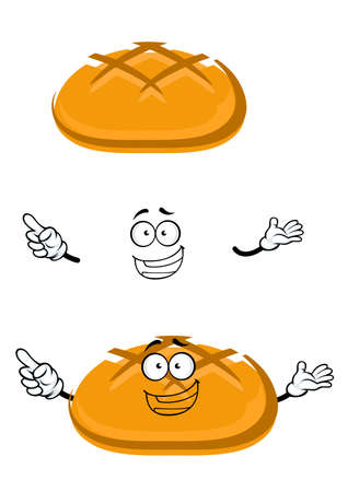 crust: Fresh baked wheat bread cartoon character with slashed crust, for bakery shop or food theme. Isolated on white Illustration