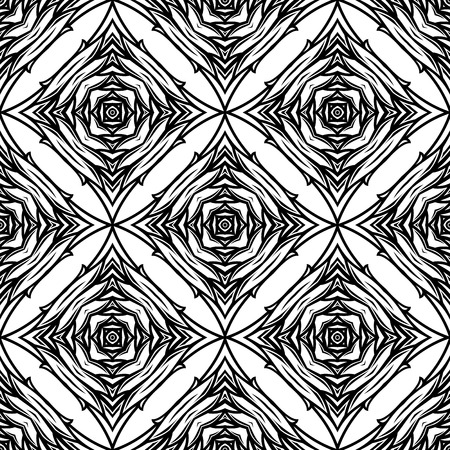 dise�o textil: Seamless black and white abstract pattern with decorative geometric elements for wallpaper or textile design