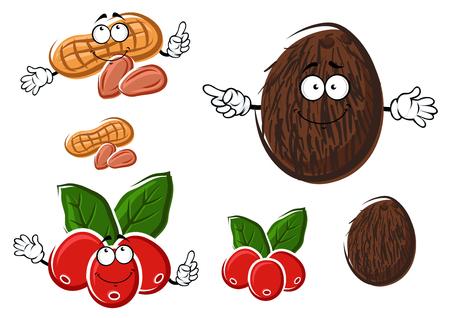 grano de cafe: Coco fresco divertido, frutas y café y personajes de dibujos animados de maní con hojas verdes y almendras, aislado en blanco