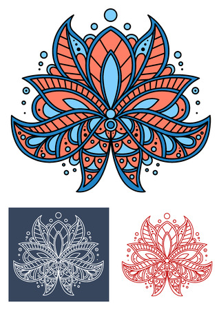 isolated: Coral persian paisley flower with blue elements isolated on background, for textile or interior design Illustration