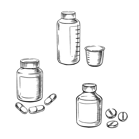 Drugs: Medical bottles with pills, capsules and cough syrup with measuring cup, for healthcare and medical theme. Sketch style