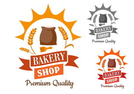 wheat isolated: Bakery shop retro sign with flour and wooden scoop, framed by sun rays, wheat, swirling ribbon banner and text Premium Quality