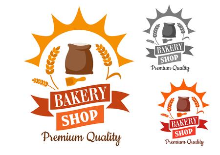 harina: Panadería signo retro con la harina y la cuchara de madera, enmarcado por los rayos del sol, el trigo, el remolino de bandera de la cinta y un texto de calidad Premium
