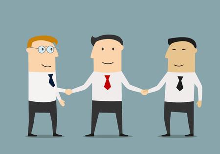 Hombre de negocios sonriente amistoso estrecha la mano de dos socios para el diseño de concepto de reunión de negocios Ilustración de vector