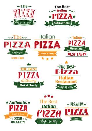 adorned: Tasty pizza cafe or restaurant headers or signboards design with headers Italian, High Quality, Delivery, Best, Fresh. Adorned by ribbon banners, stars, crowns and calligraphic elements