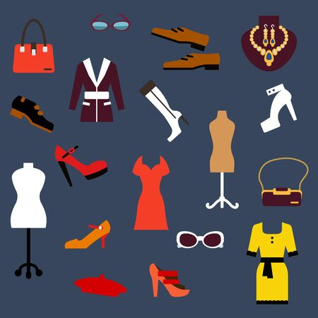 fashion shoes: Fashion clothing and accessories flat icons set with woman and man shoes, elegant dresses and jacket, luxury jewelries, bags, glasses, beret and vintage mannequins