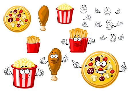 Joyful cartoon fast food pizza, fried chicken leg, french fries box and striped bucket of popcorn, for fastfood or takeaway menu theme Illustration