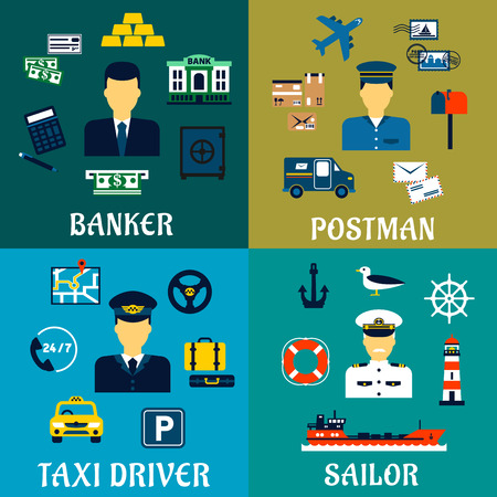 postman: Banker, taxi driver, postman and sailor professions flat icons of men in uniforms with banking, transportation, postal and marine symbols