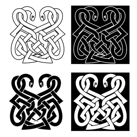 Medieval celtic ornament with two intertwined snakes with traditional tribal elements