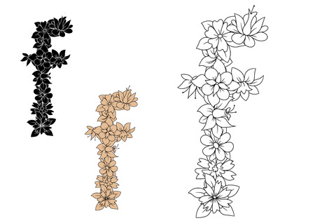 floral alphabet: Floral alphabet lowercase letter f adorned by blooming flowers, for romantic design. Outline, brown and black color variations