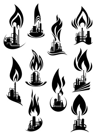 oil and gas industry: Industrial plants black silhouettes icons with pipeline, storage tanks and chimneys with powerful flames, for oil and gas industry  design Illustration