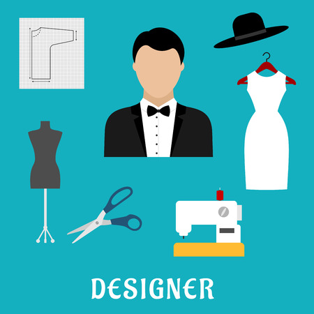 abito elegante: Fashion designer profession flat icons with sewing machine, tailor mannequin, scissors, elegant dress with hat, paper pattern and man in tuxedo