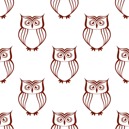 watchful: Brown and white owl silhouette seamless pattern with watchful birds