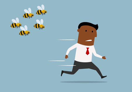 dangers: Cartoon panicked african american businessman running away from a swarm of angry huge bees
