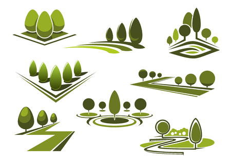 Green parks and gardens landscape icons with grass lawns, walking alleys and trimmed trees and bushes. Isolated on white