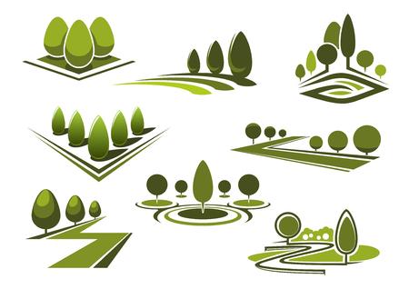 Groene parken en tuinen, landschap iconen met grasvelden, wandelen steegjes en getrimd bomen en struiken. Geïsoleerd op wit