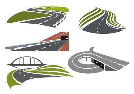 Mountainside: Winding roads among green fields, freeway with railroad bridge, highway interchange with ramp and mountainside road with tunnel, for transportation theme design Ilustracja