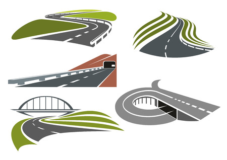 winding roads: Winding roads among green fields, freeway with railroad bridge, highway interchange with ramp and mountainside road with tunnel, for transportation theme design Vectores