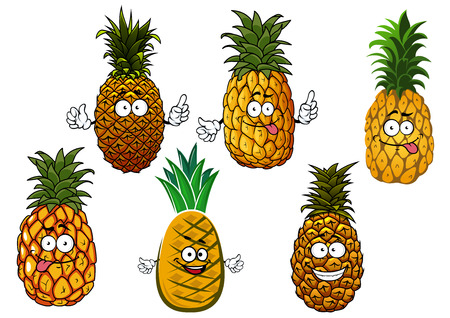 pineapple juice: Funny juicy tropical pineapple fruits cartoon characters with tufts of fresh green leaves on tops, isolated on white