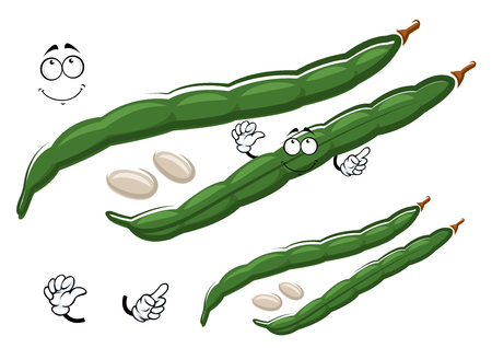 common bean: Cartoon green pods of common bean character with white seeds, isolated on white. For agriculture, harvest or vegetarian food design